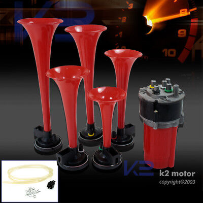 5Pcs Trumpets Musical Dukes Of Hazzard Dixie Horn Kit 125Db+Air Compressor Red