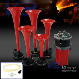 5Pcs Trumpets Musical Dukes Of Hazzard Dixie Horn Kit 125Db+Air Compressor Red