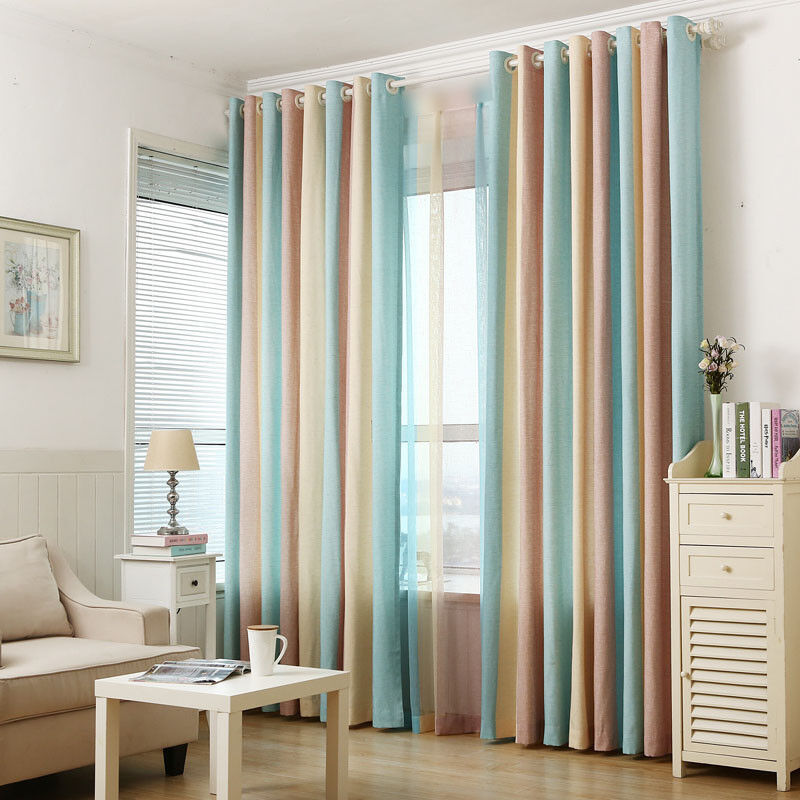 Colorful Striped Curtains Semi-Shade Cloth Sheer Tulle Voile