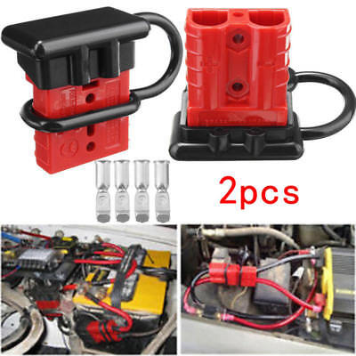 2x Batteries Quick Connect Kit -50A Wire Harness Plug Disconnect Winch Trailer - Quick Connect Batterie