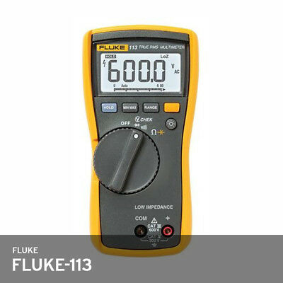Fluke 113 Utility Multimeter True Rms Test Leads 9v Battery Acdc 600v 10a Fedex