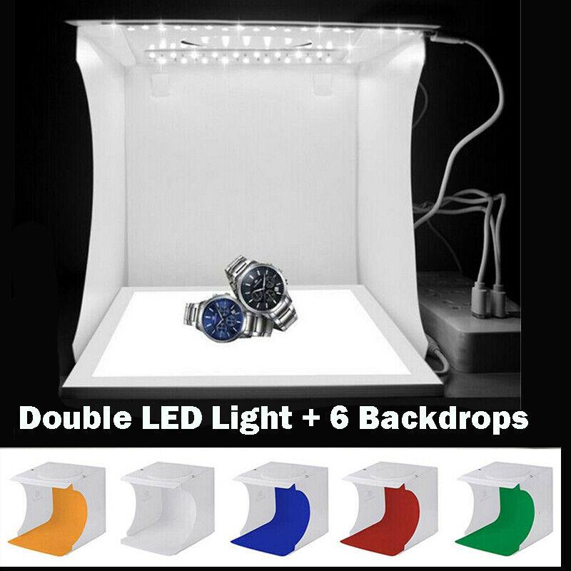 Mini Folding Lightbox Photography Tent Photo Studio 2 X LED