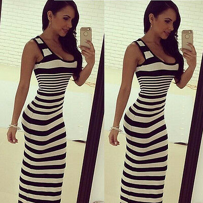 Women Femininas Striped Tank Tops Long Dress Roupa Women Bodycon Maxi Dresses BY - Striped Maxi
