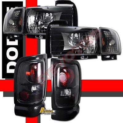 94-01 Dodge Ram 1500 2500 3500 Black Headlights Corner & Tail Lights Dark Smoke