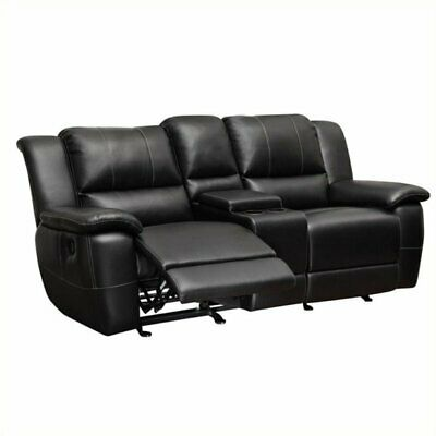 Bowery Hill Leather Double Reclining Loveseat with Console