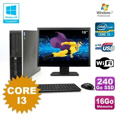 Lot PC HP Compaq 6200 Pro SFF Core i3 3.1GHz 16Go 240Go SSD DVD WIFI W7 + Ecran