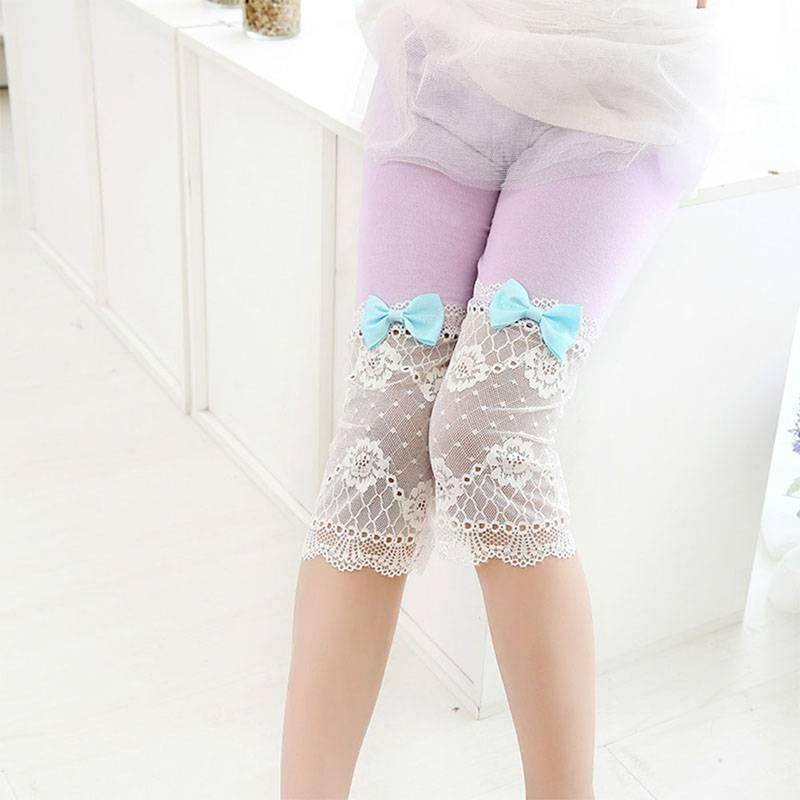 Kids Girls Ballet Dance Lace Bow Modal Tight Leggings Cropped Capris Pants