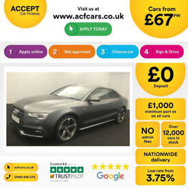 Grey AUDI A5 COUPE 2.0 3.0 TDI Diesel SPORT S LINE FROM £67 PER WEEK!