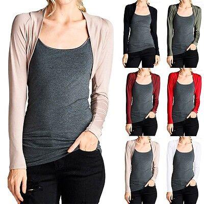 Solid Long Sleeve Cropped Open Front Shrug Bolero Casual Easy Wear (Crop Bolero Shrug)