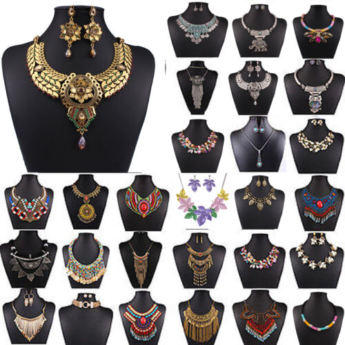 Mode-Femmes-Stylish-Bib-Collier-Surdimensionne-Bijoux-De-partie-Chunky-Necklace