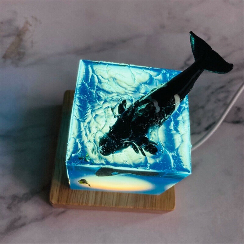 Orcinus Orca Resin Ocean Gift Decoration Killer Whale And Diver Transparent USB