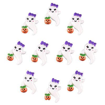 10pcs Resin Ghost Girly Boo w/ Pumpkin Halloween Flatback Hair Bow Crafts - Halloween Hair Bow Embellishments