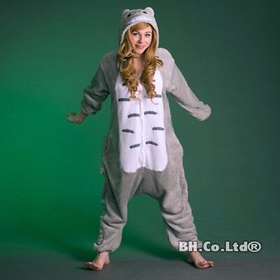 Unisex Adult Totoro Kigurumi Pajamas Grey Cosplay Costume Animal Sleepwear - Adult Totoro Costume
