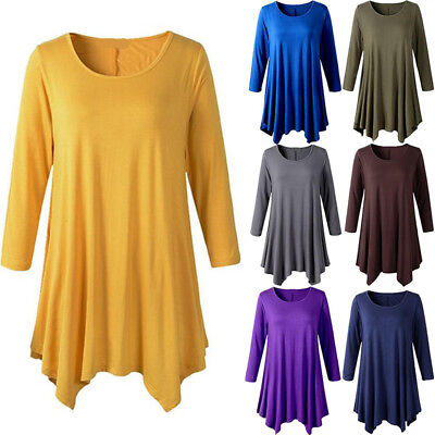 Women Cotton 3/4 Sleeve Tunic Top Loose Plus Size Fit Flare Solid T Shirt (Plus Size 3 4 Sleeve Cotton Tops)