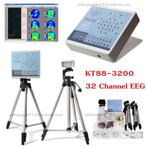 Video Digital 32 Channel EEG & Mapping Systems Machine+Software+spo2+2 Tripods