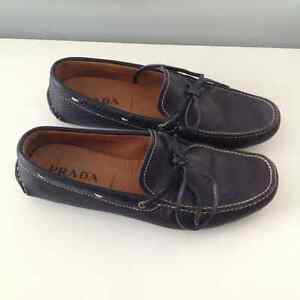 Calfskin Prada Loafers (navy blue with natural leather) London Ontario image 1