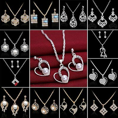 2019 18K Sapphire Crystal Pearl Necklace Earrings Set Engagement Wedding Jewelry 18k Pearl Jewelry Set