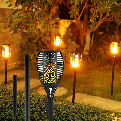 2 4-Pack Solar Tiki Torch Light Dusk To Dawn Flame Garden Lights Halloween decor
