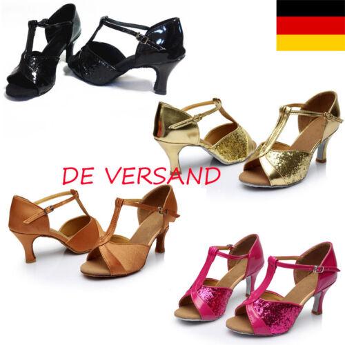 DE Damen Glitzer Schnallen Schnallen Latin Sommer Tanzschuhe Sandalen Schuhe