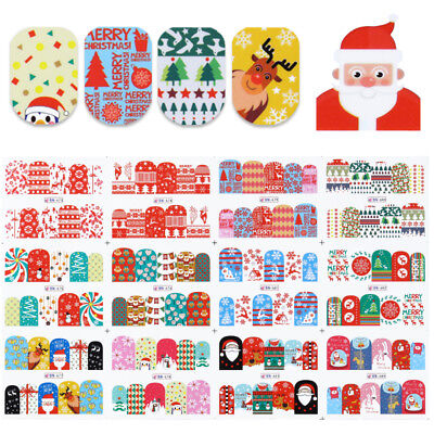 (12 Patterns Nail Water Decals Christmas Tree Snow Deer Nail Art Transfer Sticker)