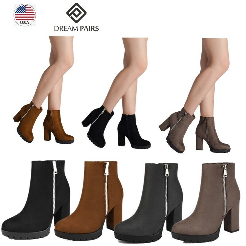 DREAM PAIRS Women Ladies Ankle Boots Suede High Heel Zipper Style Winter Shoes