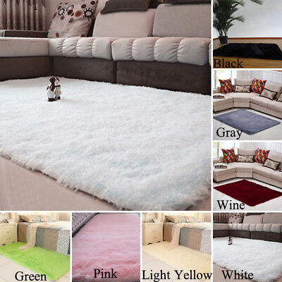 Shaggy Fluffy Rugs Anti-Skid Bedroom Rug Carpet Floor Soft Mat Dining Room Large