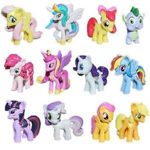 12Pcs Set My Little Pony Action Figures Spike Celestia Rainbow Dash Mini