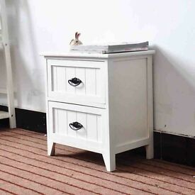 white wooden bedroom cabinet with 2 drawers.