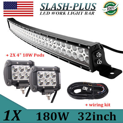 Curved 32inch 180W LED Light Bar Combo Work Offroad+4