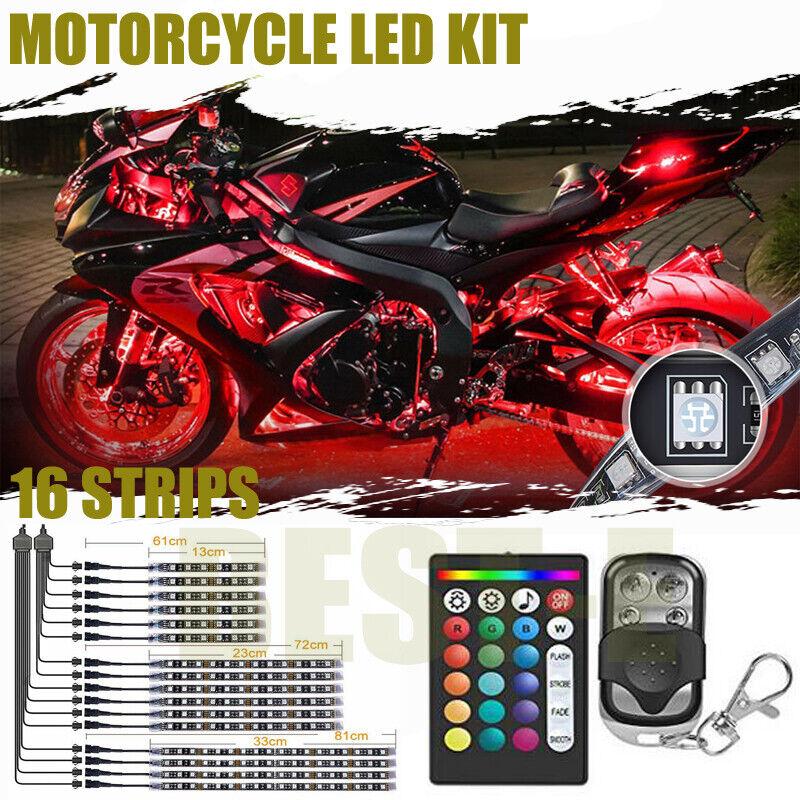16 Motorcycle LED Under Glow Light Neon RGB Strip Kit For Harley Davidson Street