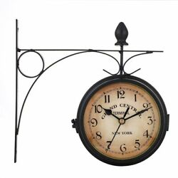 Retro Double Side Metal Hanging Wall Mount Clock Battery Powered Outdoor Garden