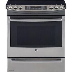 "GE Profile PCS940SFSS 30"" Electric Range Self Clean Convection 5 Glass Burners"