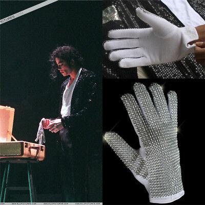 Punk MJ Michael Jackson Billie Jean Cosplay Glove Handmade 1:1 Rhinestone Gloves - Mj Gloves