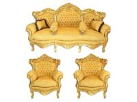 Fantastic new gold French three piece suite