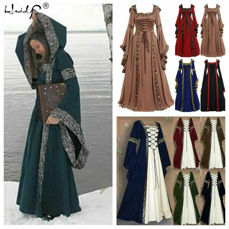 Women Gothic Medieval Hooded Dress Vintage Victorian Renaissance Cosplay Costume