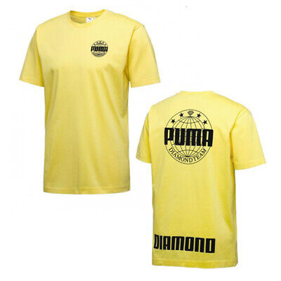 Puma x DIAMOND Mens Logo Tee 80s T-Shirt Casual Top Yellow 575358 86 A62E