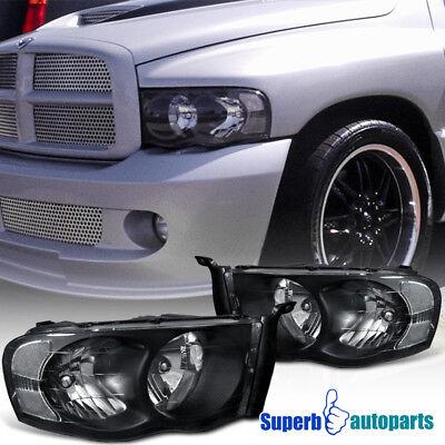 2002-2005 Dodge Ram 1500 2500 Crystal Headlight Head Lamps Black Dodge Ram 2500 Slt