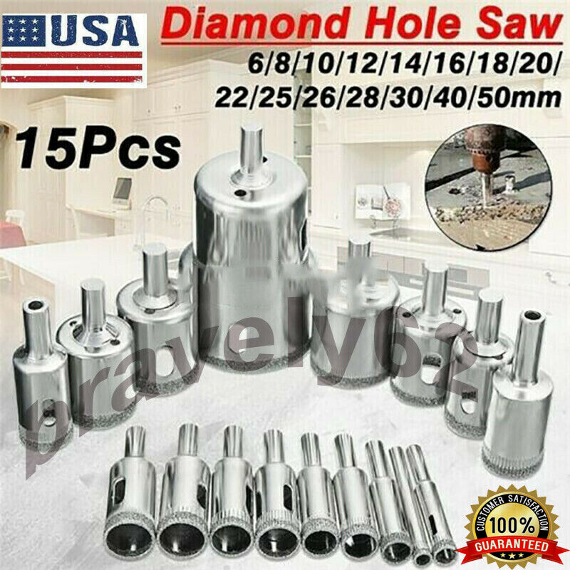 15X 6-50mm Diamond Hole Saw Cutter Drill Bit Tool Glass For Tile Marble Glass US