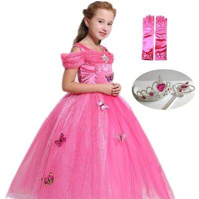 Kids Girl Sleeping Beauty Princess Aurora Cosplay dress Halloween Xmas costume (Sleeping Beauty Halloween Costume Child)