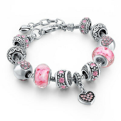925 Silber plt. Bettelarmband Armband mit 11 Murano Glass Beads Charm Bracelet