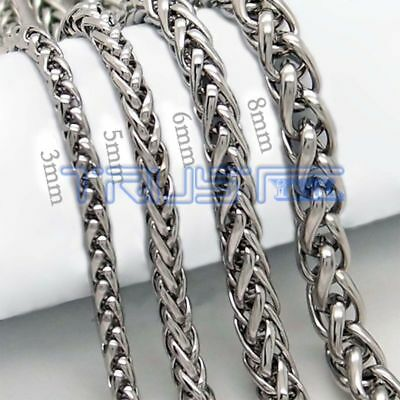 Mens Boys Womens Silver Stainless Steel Wheat Chain Necklace 5/6/8MM 20-30inch