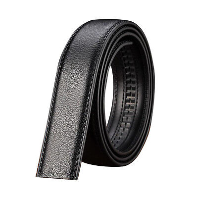 Luxury Men's Leather Automatic Ribbon Waist Strap Belt Without Buckle Black T1