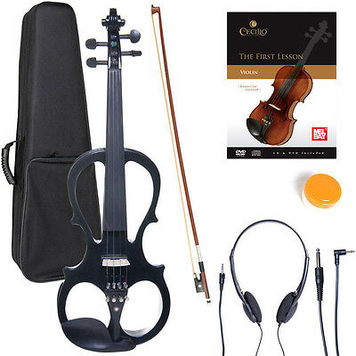 NEW 4/4 Ebony Electric Violin w/Pickup -Black & Style1