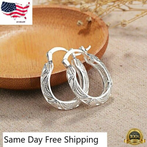925 Sterling Silver Filigree Round Oval Unique Hoop Earrings