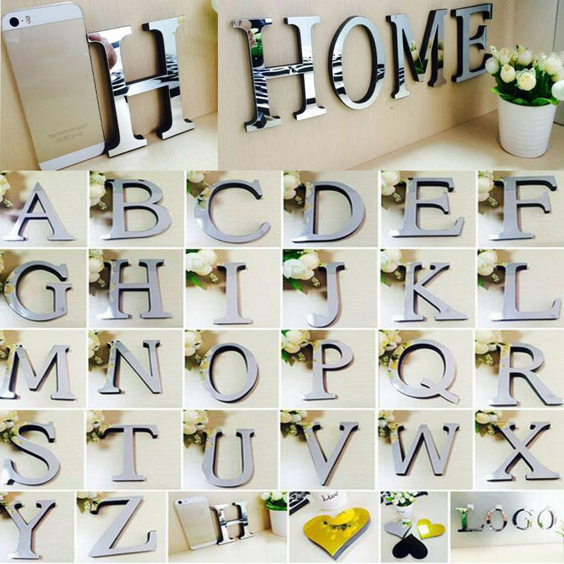 Home Decoration - 26 Letters DIY 3D Mirror Surface Wall Stickers Mural Art Living Room Home Decor