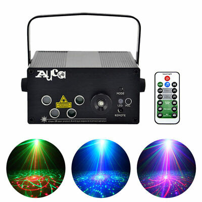 Remote 80 RGB Gobos Laser Projector Blue LED Light DJ Home Party Stage Lighting (Blue Party Light)