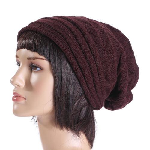 Men Women Plain Knit Wool Winter Oversized Slouch Beanie Hat Baggy Ski Cap Warm Clothing, Shoes & Accessories