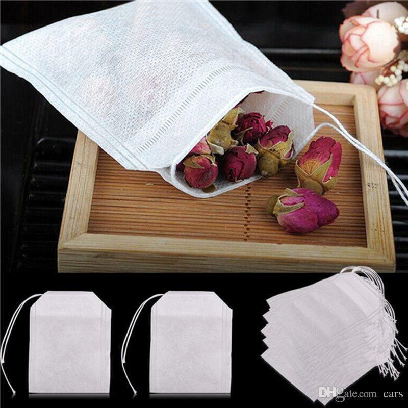 100x Empty Tea Bags String Heat Seal Filter Paper Herb Loose