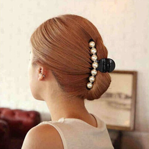 Women Faux Pearl Large Clear Plastic Hair Claw Jaw Clip Clam