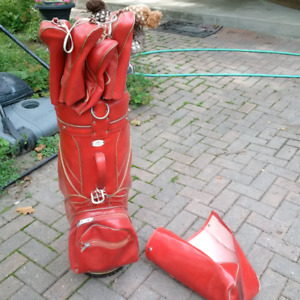 Left handed Spalding Executive Registerd clubs, bag and cart